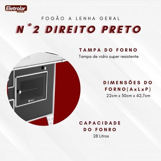 Fogão A Lenha Nr 2 Direito Geral Preto