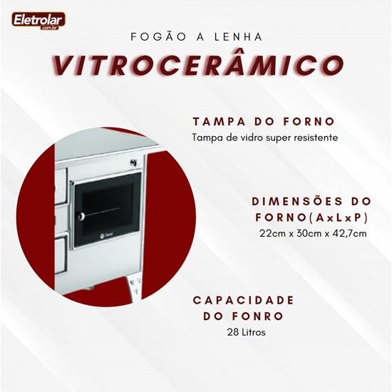 Fogão A Lenha Nr 2 Direito Vitrocerâmico Inox