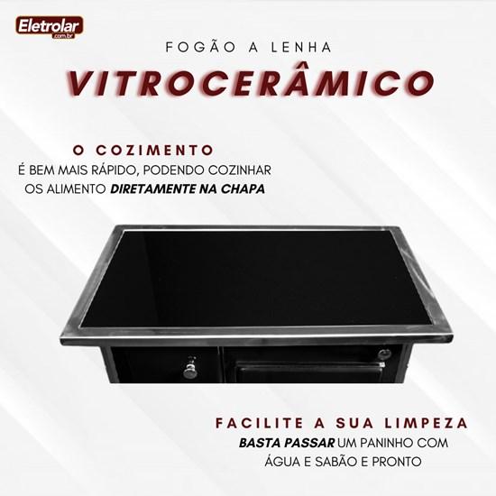 Fogão A Lenha Nr 2 Direito Vitrocerâmico Preto