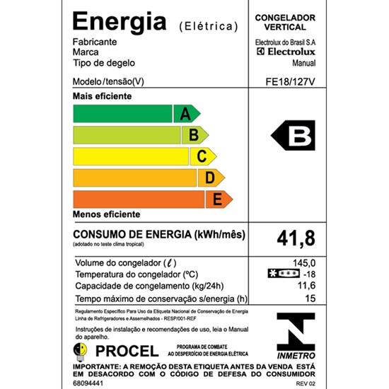 Freezer Vertical 145L Fe18 Electrolux Branco