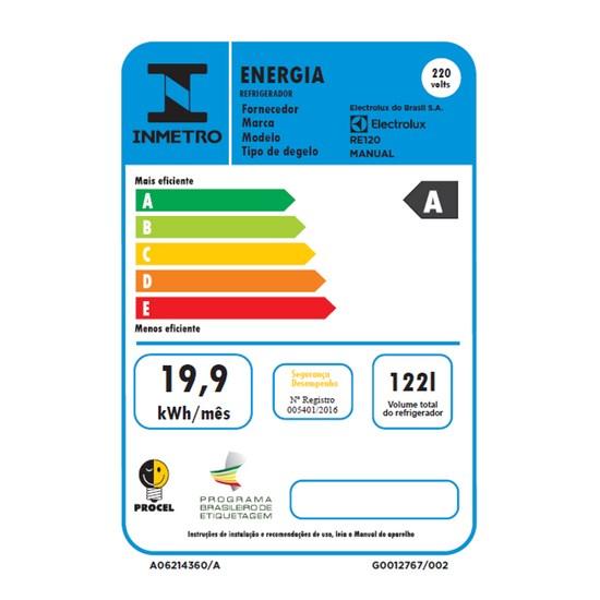 Frigobar 1 Porta 122 Litros Electrolux Branco