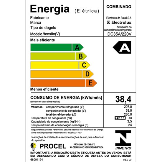 Geladeira 260L 2P Dc35a Cycle Defrost Branco