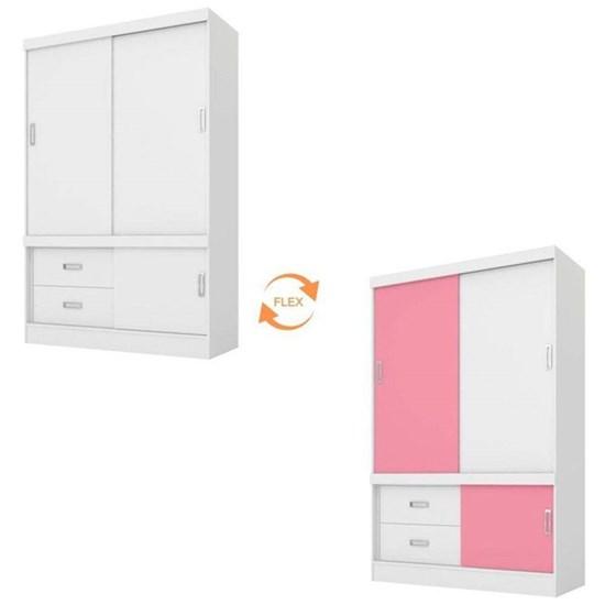 Guarda Roupa 2 Portas Estilo 2 Branco/Rosa/Branco