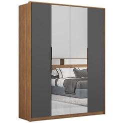 Guarda Roupa 4 Portas Attore Com Espelho Amendola/Grafito