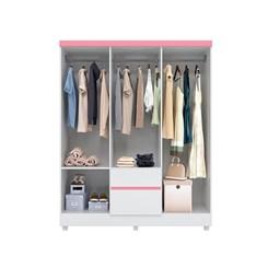 Guarda-Roupa Casal 6 Portas Flash Branco/Rosa