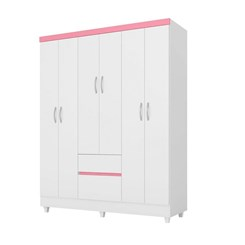 Guarda Roupa Casal 6 Portas Flash Branco/Rosa