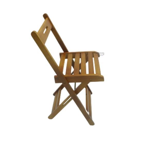 Jogo De Mesa Dobrável 70X70cm Com 4 Cadeiras Madeira Maciça Mel