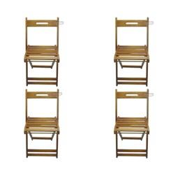Kit Com 4 Cadeiras Dobrável Pellas Mel