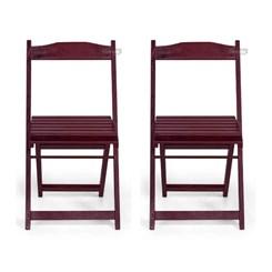 Kit Com Duas Cadeiras Dobrável Pellas Imbuia