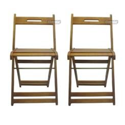 Kit Com Duas Cadeiras Dobrável Pellas Mel