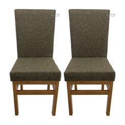 Kit Com Duas Cadeiras Encosto Estofado Canela Linho