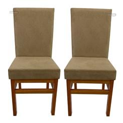 Kit Com Duas Cadeiras Encosto Estofado Canela Tecido Suede Cacao