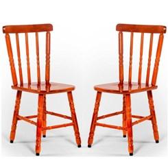 Kit Com Duas Cadeiras Madeira Torneada Mel