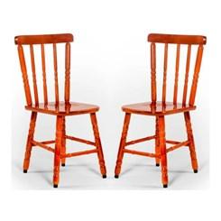 Kit Com Duas Cadeiras Torneada Tebas Mel