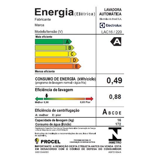 Lavadora De Roupas 16K Lac16 Electrolux Branco