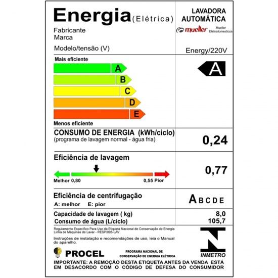Lavadora De Roupas 8Kg Energy Mueller Branco