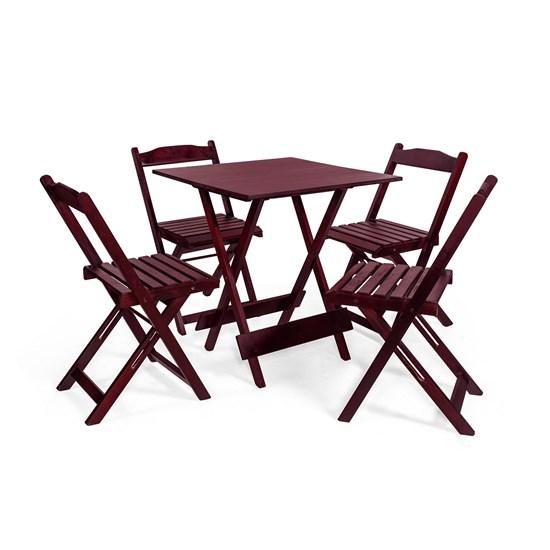 Mesa Dobrável Com 4 Cadeiras Las Vegas Imbuia