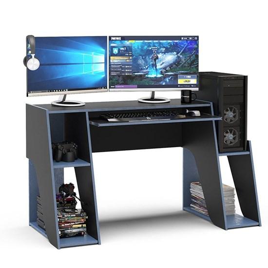 Mesa Gamer Kyoto Para 2 Monitores Preto Azul