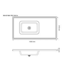 Pia Cozinha 1,00 X 54Cm Granito Preto Preto