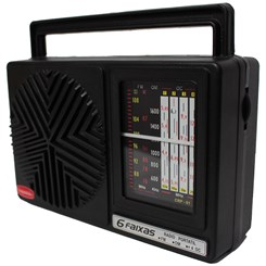 Rádio Portátil 6Fxs C/Entr Aux Pilha/Luz Preto
