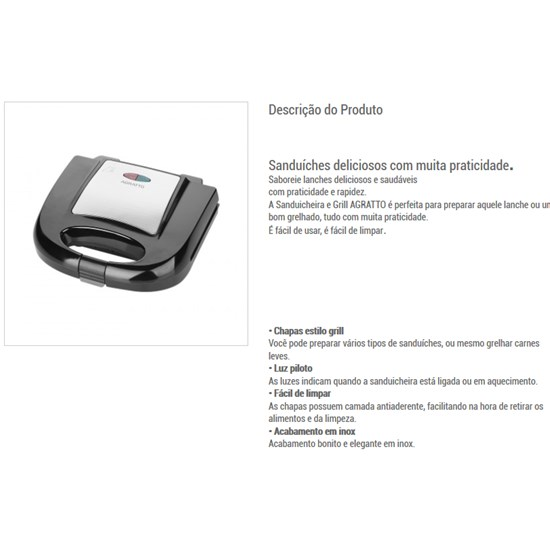 Sanduicheira Agratto 750W Inox