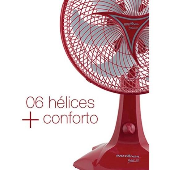 Ventilador Mesa Protect 30Cm Six Vermelho