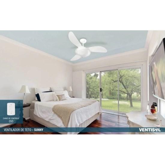 Ventilador Teto Sunny 3 Pás Controle Branco